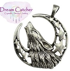 Howling Wolf Moon Amulet Pendant & Adjustable Black Necklace Cord Wicca Witch