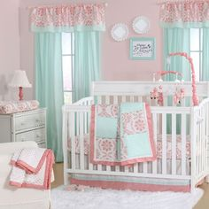 The Peanut Shell 4 Piece Baby Girl Crib Bedding Set - Coral Pink Floral Medallions and Mint Green Polka Dots Patchwork - Cotton Quilt, Dust Ruffle, Fitted Sheet, and Mobile Girl Crib Bedding Sets, Girl Cribs, Crib Sets, Nursery Bedding, Baby Cribs, Baby Bedding, Purple Bedding, Fox Nursery, Nursery Art