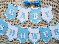 Bunting Flags Banners Garland Onesies BABY SHOWER Blue White Boy DIY