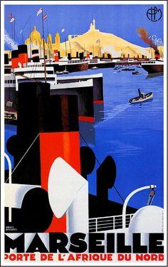 Marseille porte de l'Afrique du Nord. Affiche de Roger Broders.