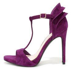 25ff2817e29 Jessica Simpson Rayanna Wisteria Purple Kid Suede Peep Toe Heels ( 95) ❤  liked on
