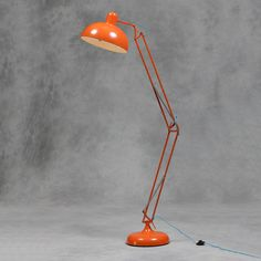 Large Stylish Orange Desk Style Floor Lamp with Blue Fabric Flex - 190cm High in Home, Furniture & DIY, Lighting, Lamps | eBay