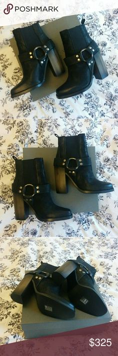 """All Saints Aiden Jules Biker Booties Black leather bike style boots with faux bone heel  Unworn with original stickers and box in perfect condition.   100% cow leather outsole with interior leather lining Heel height 4"""" inches US 7.5 / UK 5 / EU 38 All Saints Shoes Ankle Boots & Booties"""