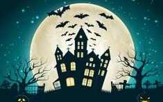 Halloween Creepy Pumpkins Bats Full Moon Midnight Ghosts #6999522
