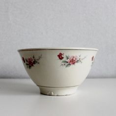 Antique Ceramic Serving Bowl With Roses - French Kitchen Vintage by OhlalaCamille on Gourmly
