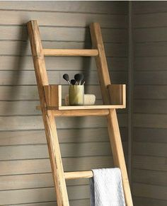 Teak Ladder with Shelf