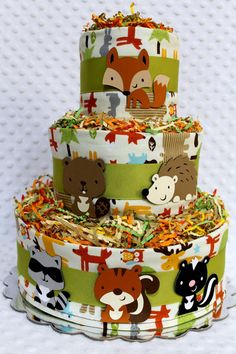 Baby Diaper Cakes Woodland Animals Creatures by Diannasdiapercakes