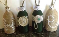 """Bottiglie decorate con la scritta """"Hope"""" di Il gomitolo di Birba su DaWanda.com #handmade #handcraft #handcrafted #diy #hope #speranza #botton #bottle #shabbychic"""