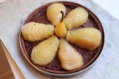 Tarte Bourdaloue poire chocolat - Recette Olivia Pâtisse Cacao, Acai Bowl, Cantaloupe, Fruit, Breakfast, Food, Pear Tart, Sliced Almonds, Apple Cakes