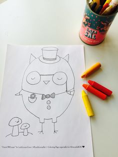 Free Owl Coloring Page for Adults or Kids | AbracadaBOX blog | Designed by Lady Lucas
