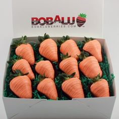 """Carrot"" Chocolate covered Strawberries, bobalu berries, spring, easter, perfect gift,"