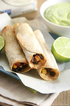 Corn & Black Bean Taquitos with Creamy Avocado Dip – A meat-free and dairy-free recipe that's perfect for game day! Dairy Free Recipes, Veggie Recipes, Mexican Food Recipes, Whole Food Recipes, Vegetarian Recipes, Vegan Black Bean Recipes, Gluten Free, Healthy Recipes, Avocado Dip