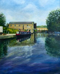 Title:The Marina with Narrowboat; Artist Name:Matthew Evans; Description:A scene of a West Yorkshire canal.Our industrial h...; Art Form:Paintings; Style:Fine Art,Realism; Media:Acrylic,Wood; Genre:Architecture,Landscape