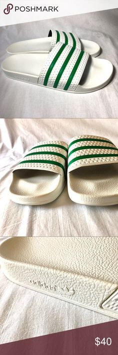599d926689af98 Adidas adilette Slides size 13 white green This is a worn once pair of Adidas  adilette