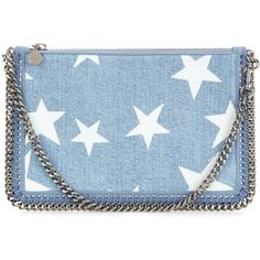 Stella McCartney Falabella Printed Denim Clutch (775 NZD) ❤ liked on Polyvore featuring bags, handbags, clutches, purses, blue, stella mccartney handbags, blue purse, stella mccartney, denim hand bags and denim handbags