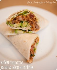 Spicy Chipotle Bean and Rice Burrito.  One batch makes plenty to eat for lunch all week long!