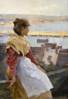 A fishergirl, Newlyn, Stanhope Alexander Forbes. Irish Realist Painter (1857 - 1947)