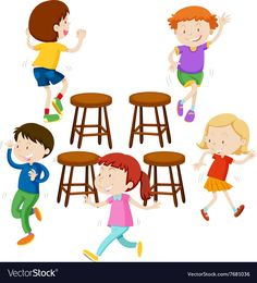 Children playing music chairs vector image on VectorStock Used Chairs, Cool Chairs, Brown Accent Chair, Office Chairs Online, Cute Living Room, Ashley Furniture Chairs, Musical Chairs, Mid Century Modern Armchair, Shabby Chic Table And Chairs