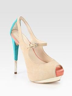 e69ddf22c00 Boutique 9 Suede Colorblock Peep Toe Platform Pumps in Beige. Fashion For  Womens High Heels · Brian Atwood Heels