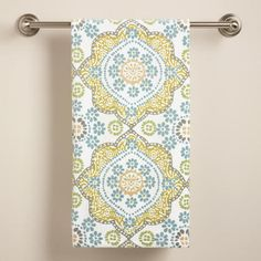 Mosaic Printed Velour Bath Towel   World Market