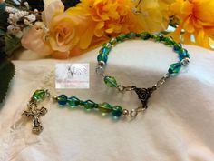 Rosary Chaplet Blue Green  PR561 by Justmyhands1Rosaries on Etsy