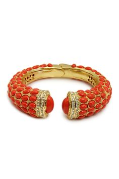 Hinged Coral Stone Bangle