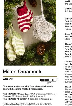 Knitted Christmas Decorations, Knit Christmas Ornaments, Christmas Stocking Pattern, Knitted Christmas Stockings, Crochet Ornaments, Christmas Knitting Patterns, Knitting Patterns Free, Christmas Crafts, Knitted Mittens Pattern