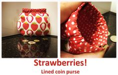 Strawberries! (01) Coin Purses, Strawberries, Coins, Lunch Box, Collection, Coin Wallet, Strawberry Fruit, Coining, Rooms