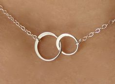 Linked Small Circles Pendant Necklace in Sterling Silver, bridesmaid gift, wedding necklace, entwined, interlocking circles on Etsy, $23.00