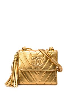 Vintage Chanel Lambskin Chevron Shoulder Bag with Tassel