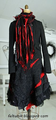 Feltunik: Nuno felt skirt and scarf using new and recycled m...
