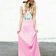 12 Pm By Mon Ami Pink Diamond Maxi Dress