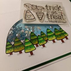 """""""My @lawnfawn Trick or Treat sweeties looked so cute as little christmas trees. All the christmas sets I like is sold out!  I've been having major…"""""""