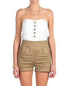 Sweetheart Trouser Romper - Tan - Large