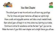 your next chapter!   *end of year for students*