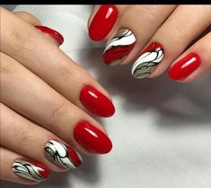 Red abstract #NailArt Fancy Nail Art, Fancy Nails, Red Nails, Swag Nails, Hair And Nails, Glitter French Manicure, Nail Manicure, Gorgeous Nails, Pretty Nails