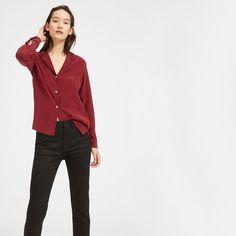 Women's Piped Silk Notch Collar Shirt   Everlane