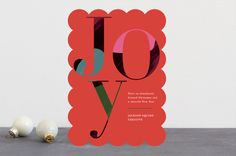 """Joyful Hues"" - Modern Business Holiday Cards in Rouge by Jennifer Lew."
