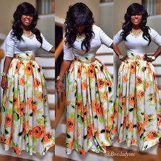 Ankara Skirt Styles : You Just Need To See Women Fashion African Attire, African Wear, African Fashion Dresses, African Dress, African Outfits, Ankara Skirt, Dress Skirt, Printed Maxi Skirts, Floral Print Skirt