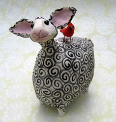 Black and white whimsical ceramic sheep with by KarenFincannon - <3
