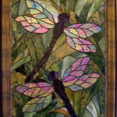 Dragonflies - no attribution  I SO need stained glass with dragonflies!!!
