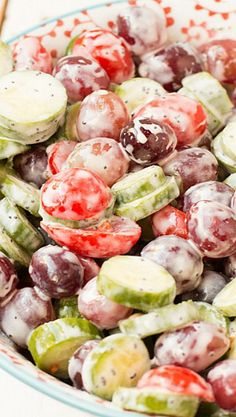 Cucumber Salad with Grapes and Poppy Seed Dressing