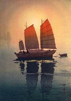 Hiroshi Yoshida (吉田 博), Sailing Boats, Morning (Hansen-Asa), 1926.