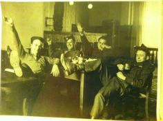 Drinking after raiding Hitler's headquarters