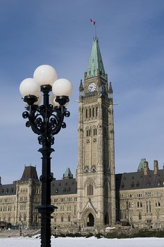 The Peace Tower at Canadian Parliament - Ottawa, Ontario, Canada.