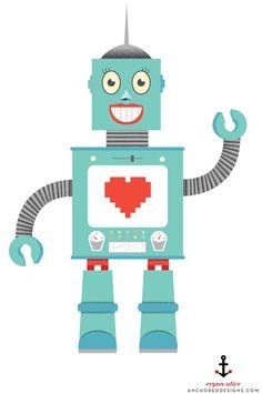 Robot illustration    www.anchoreddesigns.com