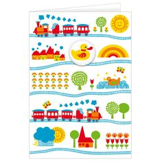 Grusskarte Eisenbahn / train greeting card. This cute card with trains and a duck badge comes with fabric cover and an envelope.