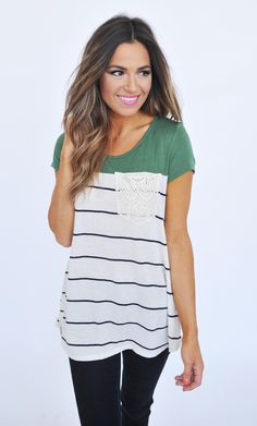 Olive/Striped Crochet Pocket Top - Dottie Couture Boutique