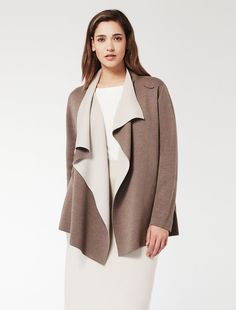 Marina Rinaldi MATRICE dark beige: Double wool blend cardigan.