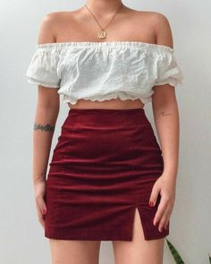 Teenager Fashion Trends, Teen Fashion Outfits, Mode Outfits, Retro Outfits, Girly Outfits, Cute Casual Outfits, Skirt Outfits, Look Fashion, Stylish Outfits